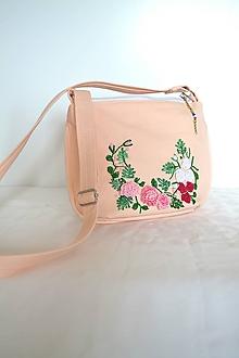 Kabelky - Malá bavlnená kabelka s objemovou výšivkou POPPY - 10952014_