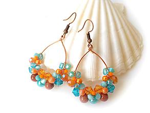 Náušnice - Venčekové (oranžová a modrá) - 10951603_