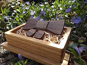 Doplnky - Pánsky drevený motýlik, manžetové gombíky a krabička - 10955809_