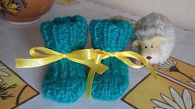 Topánočky - Papučky pre bábätká (0-6 mesiacov) (Tyrkysové) - 10954375_