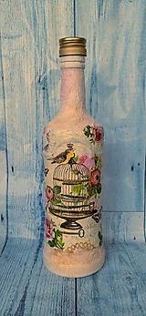 Nádoby - Fľaša vtáčik - 10955903_