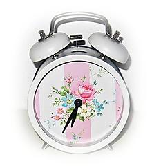 Hodiny - Romantický VINTAGE BUDÍK KVETY ♥ - 10956787_