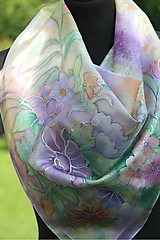 Šatky - Kvetinová hodvábna... - 10956127_