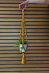Dekorácie - Závesný držiak na kvetiny horčicový - 10953982_
