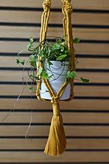 Dekorácie - Závesný držiak na kvetiny horčicový - 10953983_