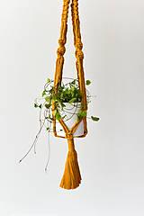 Dekorácie - Závesný držiak na kvetiny horčicový - 10953984_