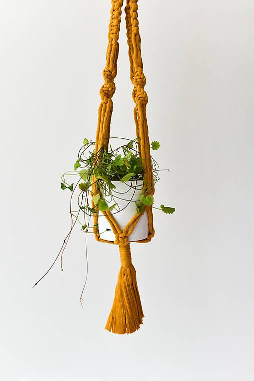Závesný držiak na kvetiny horčicový