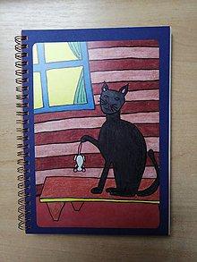 Papiernictvo - Zošit, notes A5, mačka s myšou - 10954592_