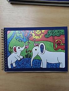 Papiernictvo - Zošit, notes A5, slony v Afrike - 10954621_