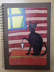 Papiernictvo - Zošit, notes A5, mačka s myšou - 10954918_