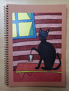 Papiernictvo - Zošit, notes A4, mačka s myšou - 10955540_