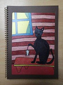 Papiernictvo - Zošit, notes A4, mačka s myšou - 10955594_