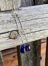 Kráľovsky modré kvapky - dlhé náušnice