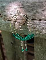 Náušnice - Smaragdovozelené kruhy - náušnice - 10956359_