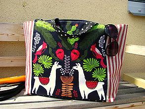 Veľké tašky - Plážová (oversized) taška - Lamy v pralese - 10955182_