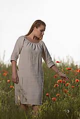 Šaty - Ľanové šaty Vesna prírodné - 10957479_