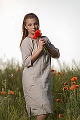 Šaty - Ľanové šaty Vesna prírodné - 10957482_