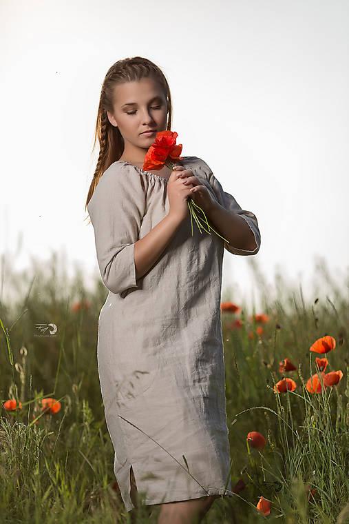 Ľanové šaty Vesna prírodné