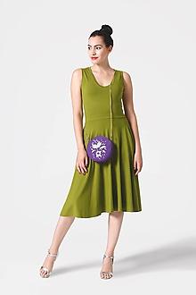 Šaty - Šaty midi olivovo zelené bez rukávov - 10958733_