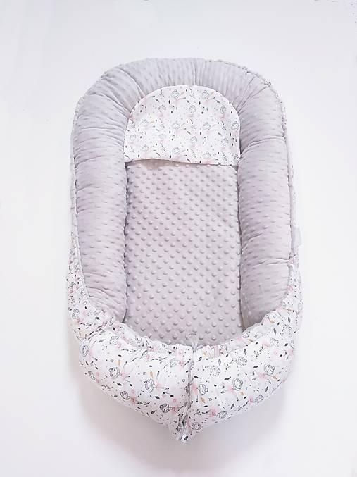 Hniezdo pre bábätko sivá minky + Ballerina