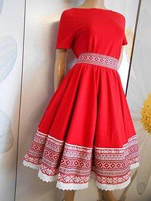 """Šaty - Floral Folk šaty """" Červené ľudové krížikové, ako vyšívané """" - 10957464_"""