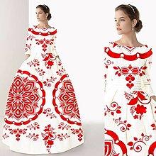 """Šaty - FLORAL FOLK """" Slovenská ornamentika """", spoločenské dlhé šaty (Biela s červeným akvarelom) - 10959394_"""