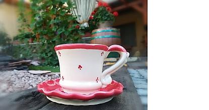 Nádoby - Keramický set na kávu - červený - 10957683_