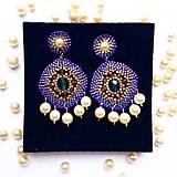 Náušnice - Fialove náušnice s perlami - 10958138_