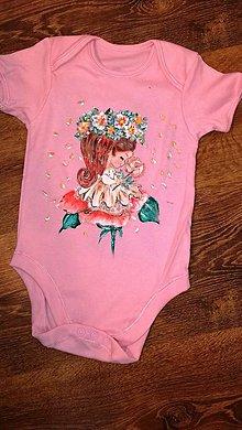 Detské oblečenie - Maľované dievčenské body - 10958953_