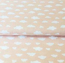 Textil - ružové obláčiky, 100 % bavlna Francúzsko, šírka 150 cm - 10958643_