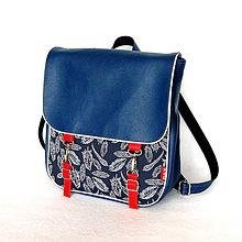 Batohy - Batoh - Modrý s pierkami - 10957643_
