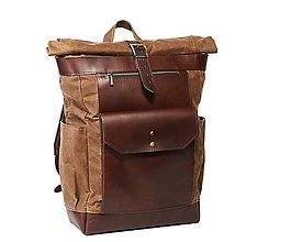 Batohy - Batoh z voskovaného plátna a kože. Hnedý ruksak. - 10958883_