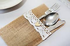 Úžitkový textil - Jutové vrecka na príbor - 10957861_