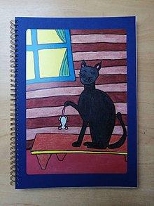 Papiernictvo - Náčrtník, skicár A4, mačka s myšou - 10957557_