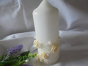 Svietidlá a sviečky - Biela romantická  svadobná sviečka - 10958432_