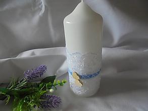 Svietidlá a sviečky - Biela romantická  svadobná sviečka - 10958516_