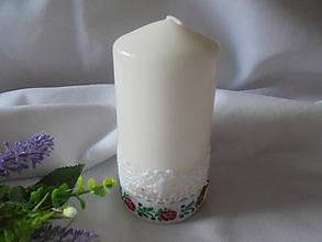 Svietidlá a sviečky - Biela  svadobná sviečka - 10958556_