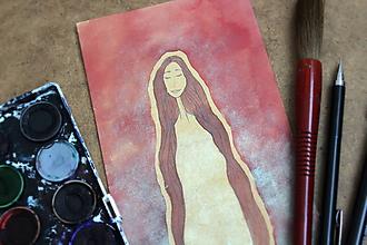 Obrazy - ilustrácia - duša ženy /1 - LÁSKAVÁ - originálna maľba - 10963317_