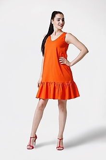 Šaty - Šaty oranžové voľné s volánom - 10962177_