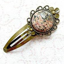 Ozdoby do vlasov - Vintage Gemstone Hair Clip / Veľká vintage sponka s minerálom (Jaspis picasso) - 10962477_