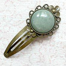 Ozdoby do vlasov - Vintage Gemstone Hair Clip / Veľká vintage sponka s minerálom (Aventurín zelený) - 10962482_