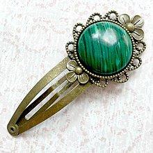 Ozdoby do vlasov - Vintage Gemstone Hair Clip / Veľká vintage sponka s minerálom (Malachit) - 10962485_
