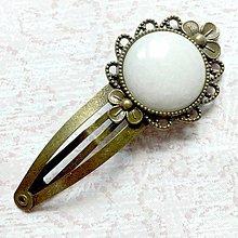 Ozdoby do vlasov - Vintage Gemstone Hair Clip / Veľká vintage sponka s minerálom (Jadeit biely) - 10962486_