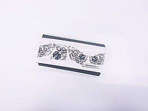 Peňaženky - Priehradková peňaženka z čiernej ekokože + folk čierny panel - 10960420_