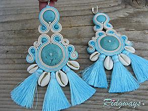 Náušnice - Kauri - Turquoise/Beige...soutache - 10962154_