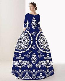 """Šaty - FLORAL FOLK """" Slovenská ornamentika """", spoločenské dlhé šaty (Modrá tmavá s  bielym akvarelom) - 10960400_"""