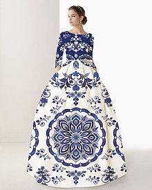 """Šaty - FLORAL FOLK """" Slovenská ornamentika """", spoločenské dlhé šaty (Biela + modrá s akvarelom) - 10960405_"""