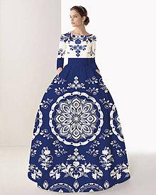"""Šaty - FLORAL FOLK """" Slovenská ornamentika """", spoločenské dlhé šaty (Modrá + biela s akvarelom) - 10960412_"""