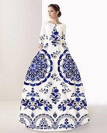 """Šaty - FLORAL FOLK """" Slovenská ornamentika """", spoločenské dlhé šaty (Biela + tmavomodrý akvarel) - 10960414_"""