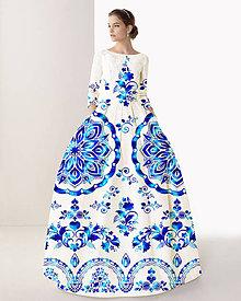 "Šaty - FLORAL FOLK "" Slovenská ornamentika "", spoločenské dlhé šaty (Biela +  tyrkysový akvarel) - 10960415_"